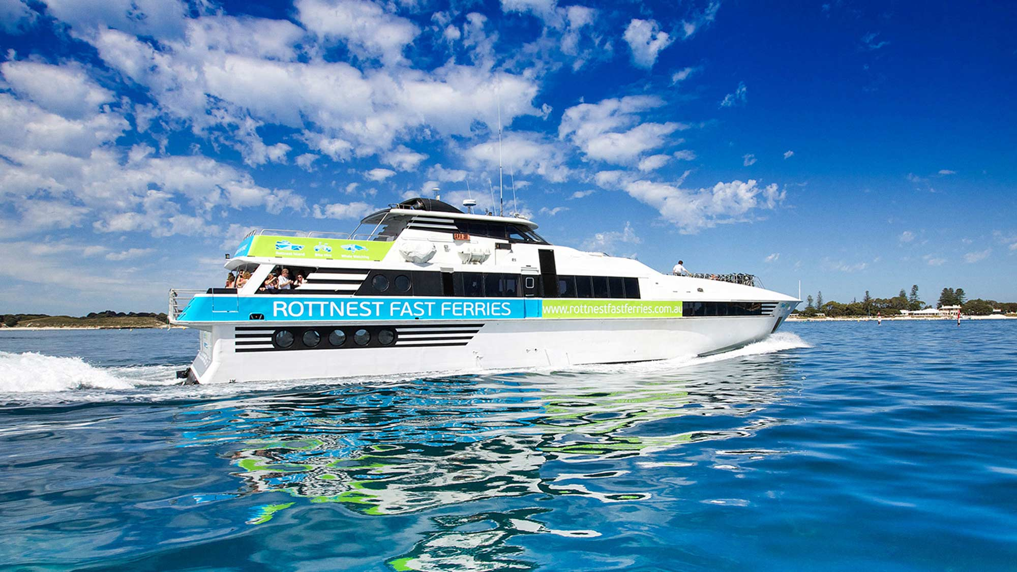 Photo of the Rottnest Fast Ferries ferry just outside Thompson Bay in Rottnest, W.A. Photo taken by Simon Spencer of Pixel Whip